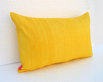 """Silk pillow, yellow color, lumbar pillowcover, size 12""""X20"""", other sizes available"""