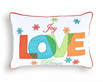 "Christmas pillow cover, Love pillow, embroidered pillow, size 14""X 21"""