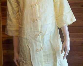 Vintage Lingerie 1950s Yellow Satin Brocade Quilted Robe Medium