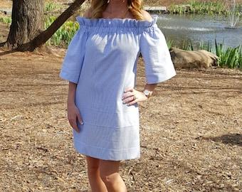 Women's Dress the Derby dress in navy classic seersucker off the shoulder dress by Collyn Raye