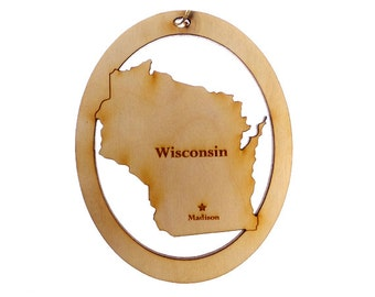 Wisconsin Ornament - Wisconsin State Ornament - Wisconsin Gift - Wisconsin Christmas Ornament - Wisconsin Ornaments - Personalized Free