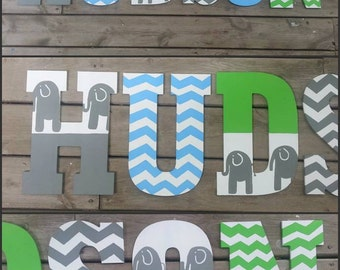 Elephant and Chevron Letters - Hand Painted Letters - Elephant Letters - Chevron Letters - Name Letters - Chevron Name Letters - Wood Letter
