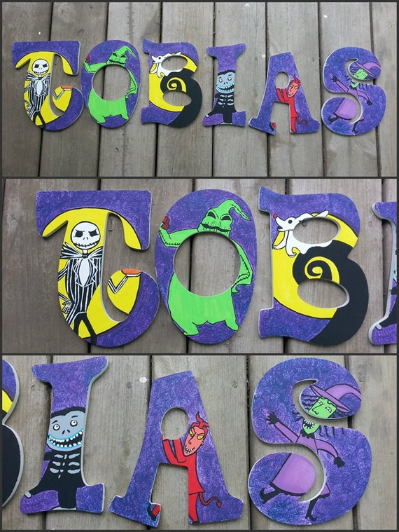 nightmare before christmas hand painted letters custom wood letters custom name letters nightmare