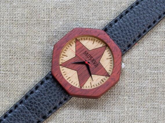 African Padauk minimal wood watch , Majestic Watch, Black  Genuine Leather strap + Any Engraving / Gift Box. Anniversary  gift