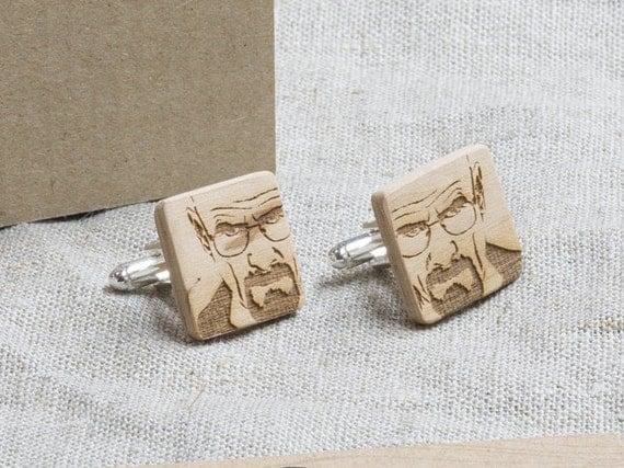BREAKING BAD Wood Cufflinks. Personalized CuffLinks. Laser Engraved Monogrammed Initial Wooden Cufflinks. Сustom cufflinks. Groomsmen Gift