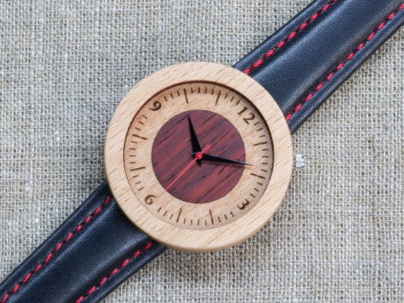 White red beech minimal wood watch , Majestic Watch,  Black and red  Genuine Leather strap + Any Engraving / Gift Box. Anniversary  gift