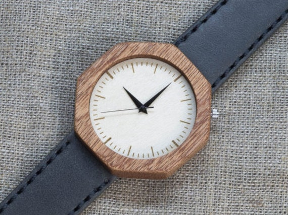 African Sapele wood watch , Majestic Watch,  Gray Genuine Leather strap + Any Engraving / Gift Box. Anniversary  gift