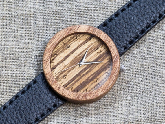 African Sapele and Zebrano wood watch , Majestic Watch, Black Genuine Leather strap + Any Engraving / Gift Box. Anniversary  gift