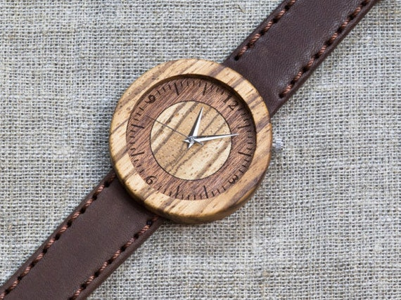 African Zebrano minimal wood watch , Majestic Watch, Brown  Genuine Leather strap + Any Engraving / Gift Box. Anniversary  gift