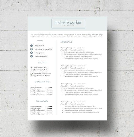 custom colors resume template cover letter template