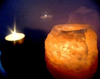 Himalayan Salt Crystal Rock Tea Light Candle Holder: Generate Negative Ions and aid in emotional balance, Anxiety, Asthma, Meditation. Pagan