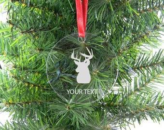 Personalized Custom Deer Head, Hunting Clear Acrylic Christmas Tree Ornament