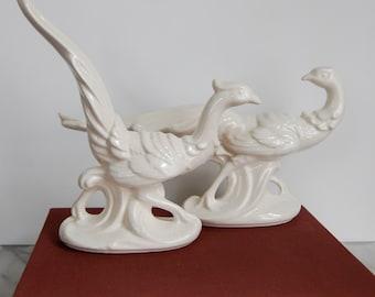 Pair White Porcelain Pheasant Statues Figurines Whiteware Stoneware Chinoiserie Chic Decor