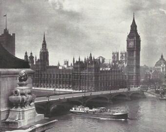 Westminster bridge Big Ben Parliament 1950s vintage Print Vintage ephemera Street art Old London