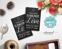 """S'More Love Favor Tags """"Fancy"""" (Printable File Only) S'More Kit Wedding Favor Tags; Printable Wedding Tags; DIY Wedding Tags"""