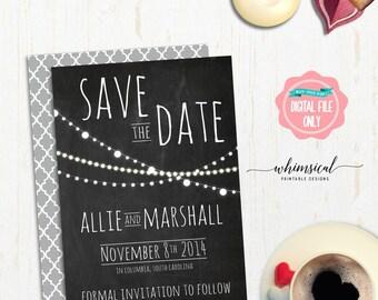 "Save the Date ""Lights Trio, Chalk"" (Printable File Only) Simple Elegant Wedding Calendar Date Pre-Invite Chalkboard Style Mark Your Calendar"