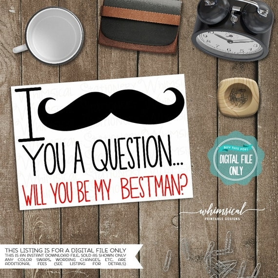 I Mustache You A Question Ask Best Man By WhimsicalStationery