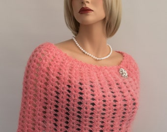 Made to Order. Crochet mohair pink bridal poncho, wedding capelet, bridesmaid shrug capelet poncho,  wedding accessories. Size S-M