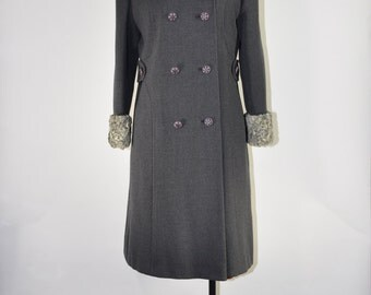 60s gray wool coat / 1960s Persian lamb fur coat / winter wool tweed coat