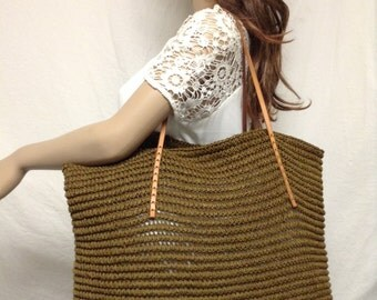 Woven tote bag, Large ,Woven Tote, Leather straps, Shoulder Bag,purse,bag,tan,blue