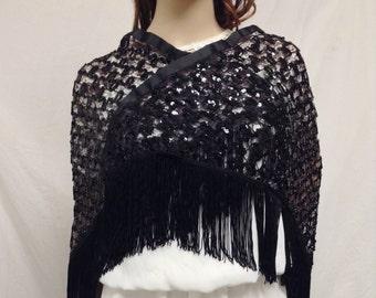 Knit shawl, Sequin shawl, Fringed Shawl, Wrap ,Black sequin shawl