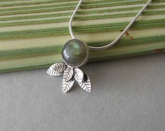 Silver Labradorite Leaves Necklace - labradorite necklace , silver necklace , leaves necklace , woodland necklace