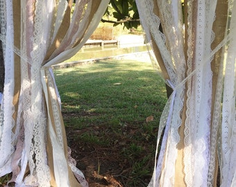 Rustic Burlap & Lace Fabric Ribbon Backdrop Garland - Curtain - Photo Prop - Wedding