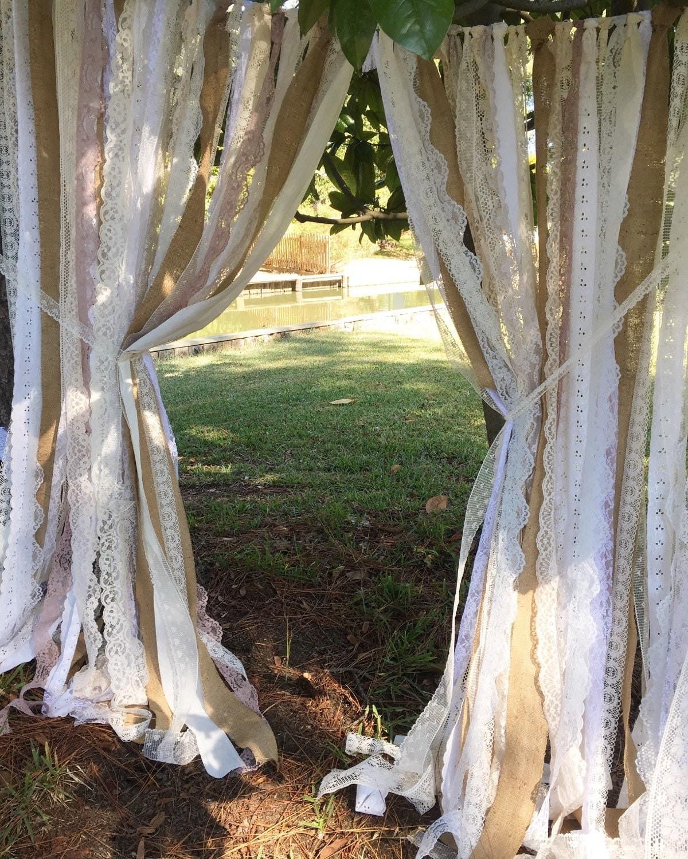 Rustic Burlap & Lace Fabric Ribbon Backdrop Garland Curtain