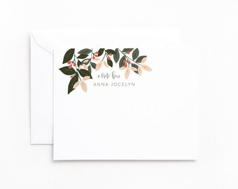 Personalized Flat Card Set of 12   Personalized Stationery, Floral Stationery Notecards : Bursting Botanicals Collection