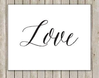 8x10 Christmas Printable Art, Love Art Print, Typography Print, Digital Art, Holiday Decor, Peace Love Joy Wall Art, Instant Download