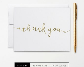 Flat or Folded Note Cards // Set of 10 // Faux Gold Foil Calligraphy Thank You Card // Personalized Stationery