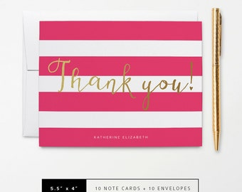 Flat or Folded Note Cards // Set of 10 // Faux Gold Foil Calligraphy 'Thank You!' on Hot Pink and White Stripes with Name // S102
