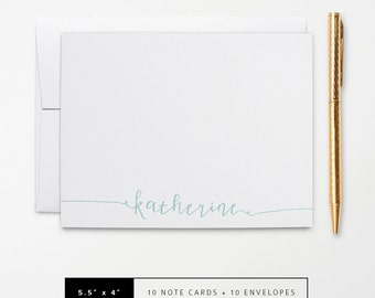 Flat or Folded Note Cards // Set of 10 // Cute Calligraphy Name in Teal, Green, Pink, Gray or Yellow // Personalized Stationery // S104