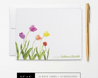 Flat or Folded Note Cards // Set of 10 // Watercolor Tulip Flowers with Name // Personalized Stationery // S108