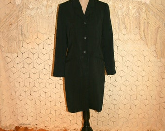 Women Black Blazer Coat Minimalist Overcoat Long Duster Size Small Size 4 Womens Clothing