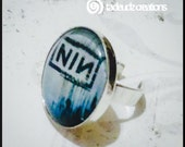 Large Nine Inch Nails Dome Ring, NIN Ring, Adjustable Ring