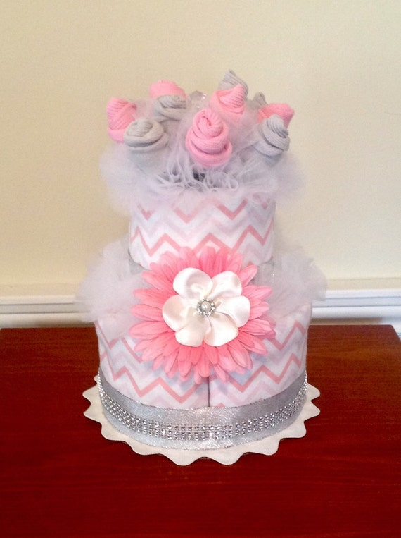 Pink chevron 2 tier baby sock bouquet burp cloth cake baby for Pink diaper bouquet
