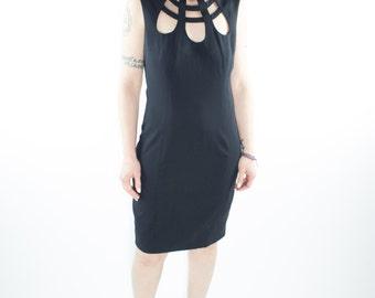 Vintage Dress | 90s Sleeveless Cutout | Goth Dress | 1990s Club Kid Size 6
