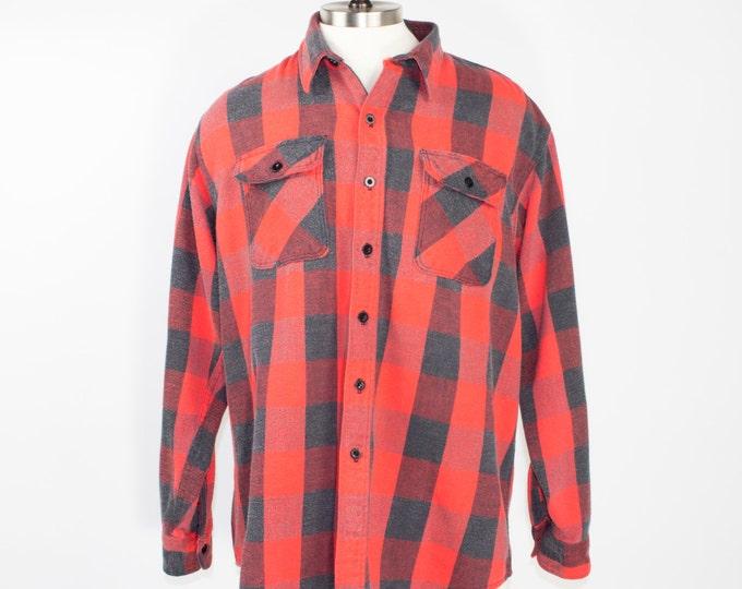 70s Vintage Buffalo Plaid Flannel Shirt | Heavy Red and Black Shirt | Size Extra Large | Retro Grunge Workwear