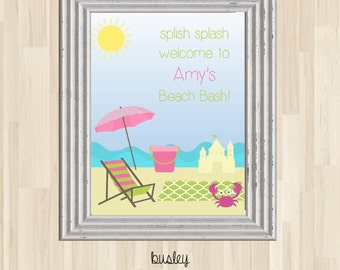 Beach Birthday Poster, Beach Birthday Party Poster,  Beach Party Poster, Beach Birthday Sign, Beach Birthday Party Sign, Beach Party Welcome