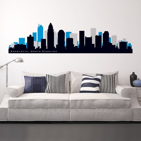 Charlotte North Carolina Skyline Wall Decal Sports Team Colors
