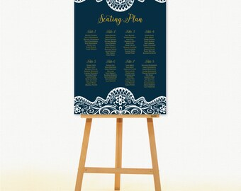 Wedding Seating Chart Sign. Seating Plan for Party.