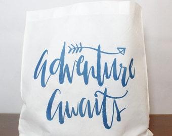 Adventure Awaits  Lightweight Tote  Reusable Tote Bag Travel Tote