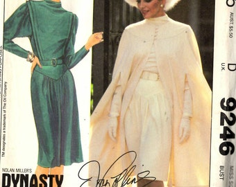 McCall's 9246 Misses Cape Dress and Belt Dynasty Sewing Pattern 34 Bust