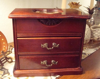 Vintage Heart & Flowers Jewelry Box - 3-Tiered - Heart Cut-Out - Ivory Velvet Interior - Beautiful Vintage Condition!!