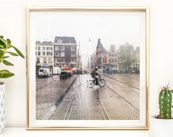 Home + Office Decor Photography Print - Rain in Amsterdam - Black and White