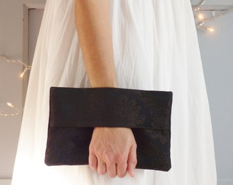 Black wrist wallet, evening clutch, evening purse, handbag, pouch bag, black, brocade damask fabric, mylmelo