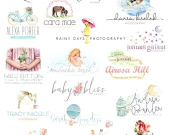 Logo Design Branding, Photography Logo, Small Business Logo, Custom Logo, Logo Design Package, Watercolor Logo, OOAK Logo, Logo Branding