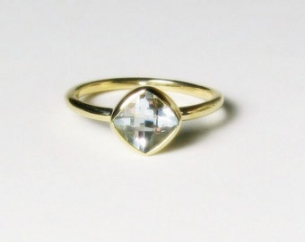 White Topaz Cushion 14K Gold , Made to Order, white, yellow, and rose gold