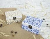 Hand painted jewelry box - Botanical ring box - Small jewelry box - Ring bearer box - Wedding box